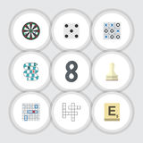 Flat Icon Games Set Of Sea Fight, Pawn, Multiplayer And Other Vector Objects. Also Includes Pawn, Puzzle, Tac Elements. Stock Photo