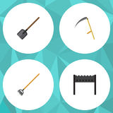 Flat Icon Garden Set Of Barbecue, Tool, Shovel And Other Vector Objects. Also Includes Spade, Cutter, Gardening Elements Stock Image