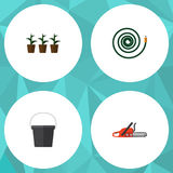 Flat Icon Garden Set Of Hacksaw, Pail, Flowerpot And Other Vector Objects. Also Includes Flowerpot, Hosepipe, Hacksaw Stock Photography