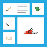 Flat Icon Garden Set Of Hacksaw, Wooden Barrier, Tool And Other Vector Objects. Also Includes Watering, Gardening, Rake Stock Photo