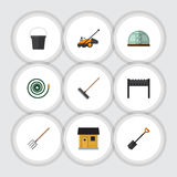 Flat Icon Garden Set Of Hay Fork, Hothouse, Barbecue And Other Vector Objects. Also Includes Fork, Barn, Brazier Stock Photography