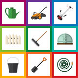 Flat Icon Garden Set Of Hothouse, Harrow, Hosepipe And Other Vector Objects. Also Includes Hose, Rake, Hosepipe Elements. Flat Icon Garden Set Of Hothouse Stock Photo