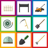 Flat Icon Garden Set Of Hothouse, Trowel, Hosepipe And Other Vector Objects. Also Includes Mower, Spatula, Bbq Elements. Stock Images
