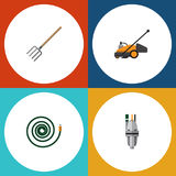 Flat Icon Garden Set Of Pump, Hay Fork, Hosepipe And Other Vector Objects. Also Includes Garden, Mower, Lawn Elements. Stock Photography