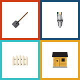 Flat Icon Garden Set Of Pump, Wooden Barrier, Shovel And Other Vector Objects. Also Includes Tool, Spade, Barn Elements. Stock Photography