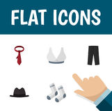 Flat Icon Garment Set Of Panama, Foot Textile, Brasserie And Other Vector Objects. Also Includes Sport, Hat, Breast Stock Photography