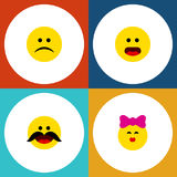 Flat Icon Gesture Set Of Caress, Cheerful, Sad And Other Vector Objects. Also Includes Kiss, Confused, Whiskers Elements. Flat Icon Gesture Set Of Caress Stock Photos