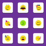 Flat Icon Gesture Set Of Cheerful, Joy, Frown And Other Vector Objects. Also Includes Sad, Wonder, Idea Elements. Flat Icon Gesture Set Of Cheerful, Joy, Frown stock illustration