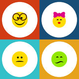 Flat Icon Gesture Set Of Displeased, Pleasant, Frown And Other Vector Objects. Also Includes Displeased, Frown, Mood. Flat Icon Gesture Set Of Displeased royalty free illustration