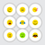 Flat Icon Gesture Set Of Frown. Wonder, Cheerful And Other Vector Objects royalty free illustration