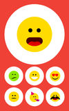 Flat Icon Gesture Set Of Frown, Wonder, Cheerful And Other Vector Objects. Also Includes Heart, Cheerful, Emoji Elements. Flat Icon Gesture Set Of Frown, Wonder stock illustration