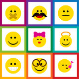 Flat Icon Gesture Set Of Hush, Caress, Displeased And Other Vector Objects. Also Includes Smile, Kiss, Silent Elements. Flat Icon Gesture Set Of Hush, Caress Royalty Free Stock Photo