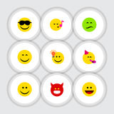 Flat Icon Gesture Set Of Party Time Emoticon Royalty Free Stock Photos