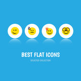 Flat Icon Gesture Set Of Pleasant, Have An Good Opinion, Winking And Other Vector Objects. Also Includes Idea, Sleeping. Flat Icon Gesture Set Of Pleasant, Have Royalty Free Stock Photo