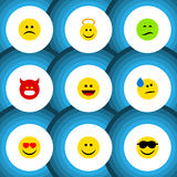 Flat Icon Gesture Set Of Pouting, Laugh, Frown And Other Vector Objects. Also Includes Face, Sad, Frown Elements. royalty free illustration
