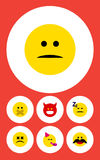 Flat Icon Gesture Set Of Pouting, Party Time Emoticon, Asleep And Other Vector Objects. Also Includes Displeased. Flat Icon Gesture Set Of Pouting, Party Time Royalty Free Stock Images