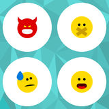 Flat Icon Gesture Set Of Wonder, Tears, Hush And Other Vector Objects. Also Includes Sad, Face, Hush Elements. Royalty Free Stock Photography