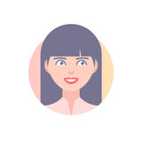 Flat icon of girl's face. Modern vector illustration of smiling woman with long hair. Image is out of circle range Stock Image