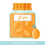 Flat icon glass jar of apricot jam Royalty Free Stock Photos