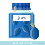 Flat icon glass jar of plum jam Stock Photography