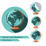 Flat icon globe on stand  on white with oval long shadow and folded corner. On white Royalty Free Stock Image