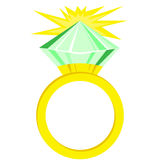 Flat icon green diamond ring. Green diamond ring isolated on white background Royalty Free Stock Images
