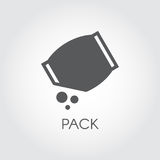Flat icon of grocery pack with abstract bulk ingredient. Culinary concept. Vector black logo. On a gray background Stock Photos