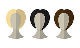 Flat icon hairstyles. Blonde, brunette. Different color hair wigs. Vector illustration vector illustration
