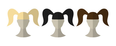 Flat icon hairstyles. Blonde, brunette. Different color hair wigs. Stock Photos