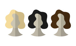 Flat icon hairstyles. Blonde, brunette. Different color hair wigs. Vector illustration stock illustration
