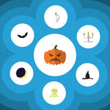 Flat Icon Halloween Set Of Candlestick, Superstition, Witch Cap Vector Objects. Also Includes Witch, Spirit, Cranium Stock Images