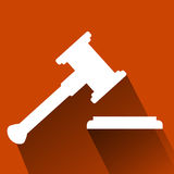 Flat Icon, Hammer of Judge with shadow, Illustration for Justice Stock Images