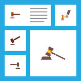 Flat Icon Hammer Set Of Court, Justice, Crime And Other Vector Objects. Also Includes Tribunal, Legal, Law Elements. Stock Images