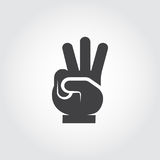 Flat icon hands - three fingers up sign. Number three gesture, body language symbol. Vector illustration. On gray background Royalty Free Stock Images