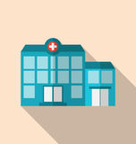 Flat icon of hospital building with long shadow Stock Photos