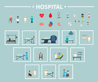 Flat icon hospital Stock Photography