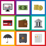 Flat Icon Incoming Set Of Cash, Bank, Document And Other Vector Objects. Also Includes Beach, Parasol, Building Elements Royalty Free Stock Photos
