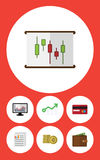 Flat Icon Incoming Set Of Chart, Cash. Diagram And Other Vector Objects Royalty Free Stock Photos