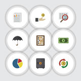 Flat Icon Incoming Set Of Document. Counter, Graph And Other Vector Objects Stock Image