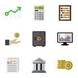 Flat Icon Incoming Set Of Document, Strongbox, Bank And Other Vector Objects. Also Includes Finance, Monitor, Counter Royalty Free Stock Photo