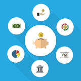 Flat Icon Incoming Set Of Hand With Coin, Money Box, Bank Vector Objects. Also Includes Greenback, Graph, Architecture Royalty Free Stock Photography