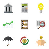 Flat Icon Incoming Set Of Money Box, Bubl, Calculate And Other Vector Objects. Also Includes Idea, Money, Bulb Elements. Stock Photos