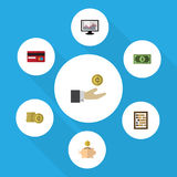 Flat Icon Incoming Set Of Payment, Money Box, Hand With Coin Vector Objects. Also Includes Shiner, Counter, Coin. Flat Icon Incoming Set Of Payment, Money Box Royalty Free Stock Photos