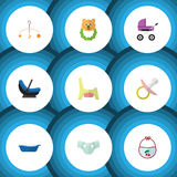 Flat Icon Infant Set Of Nappy, Stroller, Bathtub And Other Vector Objects. Also Includes Rattle, Bib, Baby Elements. Stock Photo
