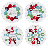 Flat icon info graphic elements on the torn paper-illustration Royalty Free Stock Images