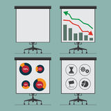 Flat icon infographic element of analytics process on presentation board . Vector. Royalty Free Stock Image