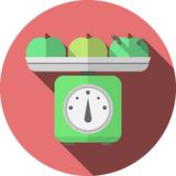 Flat icon for kitchen scales with apples Stock Image