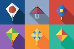 Flat icon kite. Flat icons kite with shadow. Vector flat illustration stock illustration