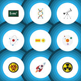 Flat Icon Knowledge Set Of Scope, Theory Of Relativity, Spaceship And Other Vector Objects. Also Includes Radiation. Flat Icon Knowledge Set Of Scope, Theory Of Royalty Free Stock Images
