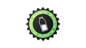 Flat icon with lactose gluten gmo sugar free. Organic signs. Motion graphics.